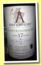 Caperdonich 17 yo 1995/2012 (57.8%, Abbey Whisky, The Rare Casks, 96 bottles)