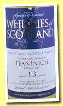 Teaninich 13 yo (46%, Whiskies of Scotland, 2012)