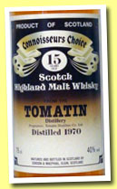 Tomatin 15 yo 1970 (40%, Gordon & MacPhail, Connoisseur's Choice, old brown label)