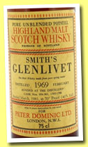 Glenlivet 1967/1979 (70 Pr., OB for Peter Dominic LTD, casks #654-2657, 2674-2675, 26 2/3 ozs)