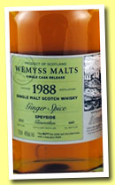 Glenrothes 1988/2013 'Ginger Spice' (46% Wemyss Malts, sherry butt, 660 bottles)
