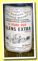 Glens Extra 8 yo (40%, Robert Watson, Pure West Highland Malt, golden screw cap, 1960s)