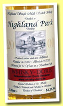 Highland Park 11 yo 2000/2012 (53.3%, Whisky-Doris, bourbon, 131 bottles)