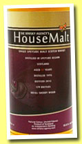 House Malt Speyside 17 yo 1995/2012 (50.8%, The Whisky Agency, refill sherry, 179 bottles)