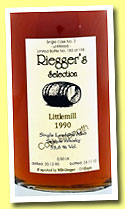 Littlemill 1990/2010 (53.6%, Riegger's Selection, first fill sherry butt, cask #2, 198 bottles)