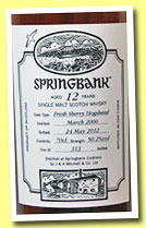 Springbank 12 yo 2000/2012 (50.2%, OB, Open Day 2012, fresh sherry hogshead, 313 bottles)
