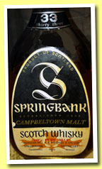 Springbank 33 yo (43%, OB, pear shaped bottle, early 1970s)