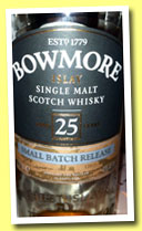 Bowmore 25 yo 'Small Batch Release' (43%, OB, +/-2013)