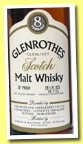 Glenrothes-Glenlivet 8 yo (70° Proof, Gordon & MacPhail, 75.7cl, 1970s)