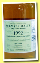 Longmorn 21 yo 1992/2013 (46%, Wemyss Malts, 'Coconut and Sandalwood', hogshead, 330 bottles)
