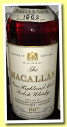 Macallan 1962 (80°proof, OB, Campbell, Hope & King, Rinaldi Italy, mid 1970's)