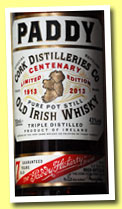 Paddy 7 yo 'Centenary Edition' (43%, OB, Irish Pot Still, 2013)