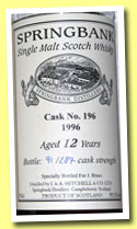 Springbank 12 yo 1996 (59.1%, OB, Private for J. Brass, cask #196, 287 bottles)