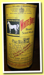 White Horse (70° proof, OB, for N.A.A.F.I. stores, H.M. Forces, 1960s) N.A.A.F.I. stands for Navy, Army and Air Force Institutes, so shops for British military staff, both in the UK and overseas. This is a UK bottling. Colour: gold. Nose: it's very peaty and ashy and instantly reminds me of the current Lagavulin 16yo, with these notes of new rubber boots and tar. There's a lot of brine as well, some ink, old books in an old attic in an old house, some seaweed, leather, a bit of sweet mustard and quite some pepper. It's a very dry nose, the malt content is probably very high. Touches of manure coming through after a few minutes. Mouth: very big peat! It's to be wondered why, while peaty malts are so fashionable these days, to my knowledge no big brands make some heavily peated blend anymore. Not talking about boutique ventures. So peat, then bitter oranges and a lot of brine/salt, green olives, sour apples, a little marzipan, some pepper… Now it also tends to become a little cardboardy, but that never gets embarrassing. The body's impressive at just 40% vol. – probably only 37 or 38 after all these years in glass. Finish: long and massively salty. Almost pure smoked brine. More mint and liquorice in the aftertaste. Comments: a beast. I don't know how much Lagavulin was added to this mix but that wouldn't surprise me if someone said 40 or 50%. SGP:264 - 90 points.