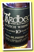 Ardbeg 10 yo (70 Proof, OB, black label/white writing, bottled +/-1974)