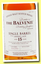 Balvenie 15 yo 'Single Barrel Sherry Cask' (47.8%, OB, cask # 16293, 2014)