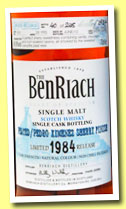 Benriach 28 yo 1984/2013 (49.9%, OB, batch 10, Peated, Pedro Ximenez finish, cask #1051, 248 bottles)