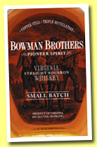 Bowman Brothers 'Small Batch' (45%, OB, USA, Virginia straight bourbon, +/-2014)
