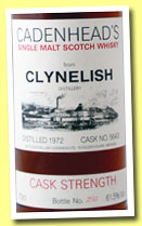 Clynelish 1972 (61.5%, Cadenhead for Oddbins, cask #5643, early 1990s)