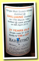Dailuaine 21 yo 1992/2013 (54.8%, Barmetro for Milano Whisky Festival, cask #3128, 227 bottles)