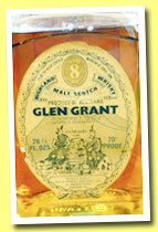 Glen Grant 8 yo (70° proof, OB, square bottle, 75.7cl, +/-1970)