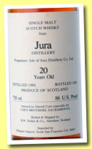 Jura 20 yo 1966/1986 (86 US Proof, Duthie for Corti Brothers Sacramento)