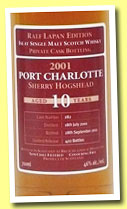Port Charlotte 10 yo 2001/2011 (46%, OB, private bottling for Ralf Lapan, sherry hogshead, cask #282, 422 bottles)