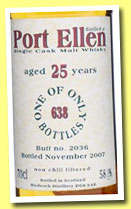 Port Ellen 25 yo 1982/2007 (58.1%, Bladnoch Forum, cask #2036, 638 bottles)