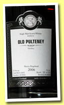 Old Pulteney 2006/2013 (57.5%, Malts of Scotland, sherry hogshead, cask #MoS 13033, 124 bottles)