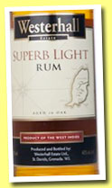 Westerhall Estate 'Superb Light Rum' (40%, OB, Grenada, +/-2013)