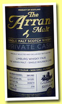 Arran 12 yo 2001/2014 (53%, OB for Limburg Whisky Fair, bourbon, cask #2001/903, 210 bottles)