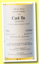 Caol Ila 1967/1983 (92 US Proof, Duthie for Narsai's Restaurant & Corti Brothers, imported by Pellegrini, South San Francisco, 75 cl)