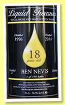 Ben Nevis 18 yo 1996/2014 (50.7%, Liquid Treasures, bourbon hogshead)