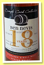 Ben Nevis 18 yo 1996/2014 (53.1%, Single Cask Collection, sherry butt, 454 bottles)