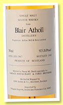 Blair Atholl 1967/1983 (92 US Proof, Duthie for Narsai's and Corti Brothers, Pellegrini Imports, USA)