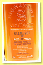 Glenlivet 32 yo 1981/2014 (52%, Signatory Vintage for The Whisky Exchange, refill sherry, cask #9460, 140 bottles)