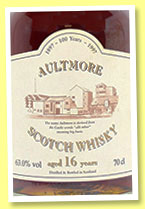 Aultmore 16 yo (63%, OB, centenary bottling, 1997)