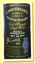 Bowmore 22 yo 1992/2014 (50.8%, Cadenhead, Authentic Collection, bourbon hogshead, 204 bottle)