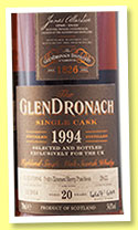 Glendronach 20 yo 1994/2014 (54.8%, OB, for Abbey Whisky, cask #3400)