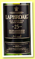 Laphroaig 25 yo 'Cask Strength 2014 Edition' (45.1%, OB)