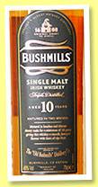 Bushmills 10 yo (40%, OB, Irish single malt, +/-2014)