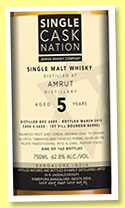 Amrut 5 yo 2009/2015 (62.8%, Single Cask Nation, 1st fill bourbon, cask #2635, 162 bottles)
