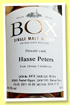 Box 2011/2014 (58.2%, OB, Sweden, for Hasse Peters, oloroso sherry, cask #A414)