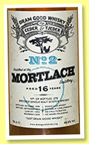 Mortlach 16 yo 1998/2015 (48.8%, Ceder & Tjeder, Dram Good Whisky No.2, 1st fill barrel, cask #11016, 270 bottles)