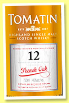 Tomatin 12 yo 'French Oak' (46%, OB, 2014)