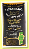 Mortlach 16 yo 1992/2009 (57.2%, Cadenhead, Authentic Collection, bourbon hogshead, 263 bottles)