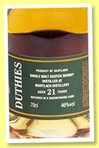 Mortlach 21 yo (46%, Duthies, sherry wood, +/-2010)