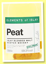 Peat (59.3%, Specialty Drinks, Elements of Islay, blended malt, 2016)