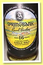 Springbank 16 yo 1999/2016 'Local Barley' (54.3%, OB, 9000 bottles)