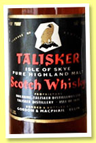 Talisker (100° proof, Gordon & MacPhail, UK, 26 2/3 fl. ozs., +/-1970)
